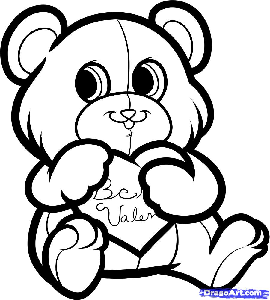 901x1002 How To Draw Be My Valentine Bear Step By How Adult