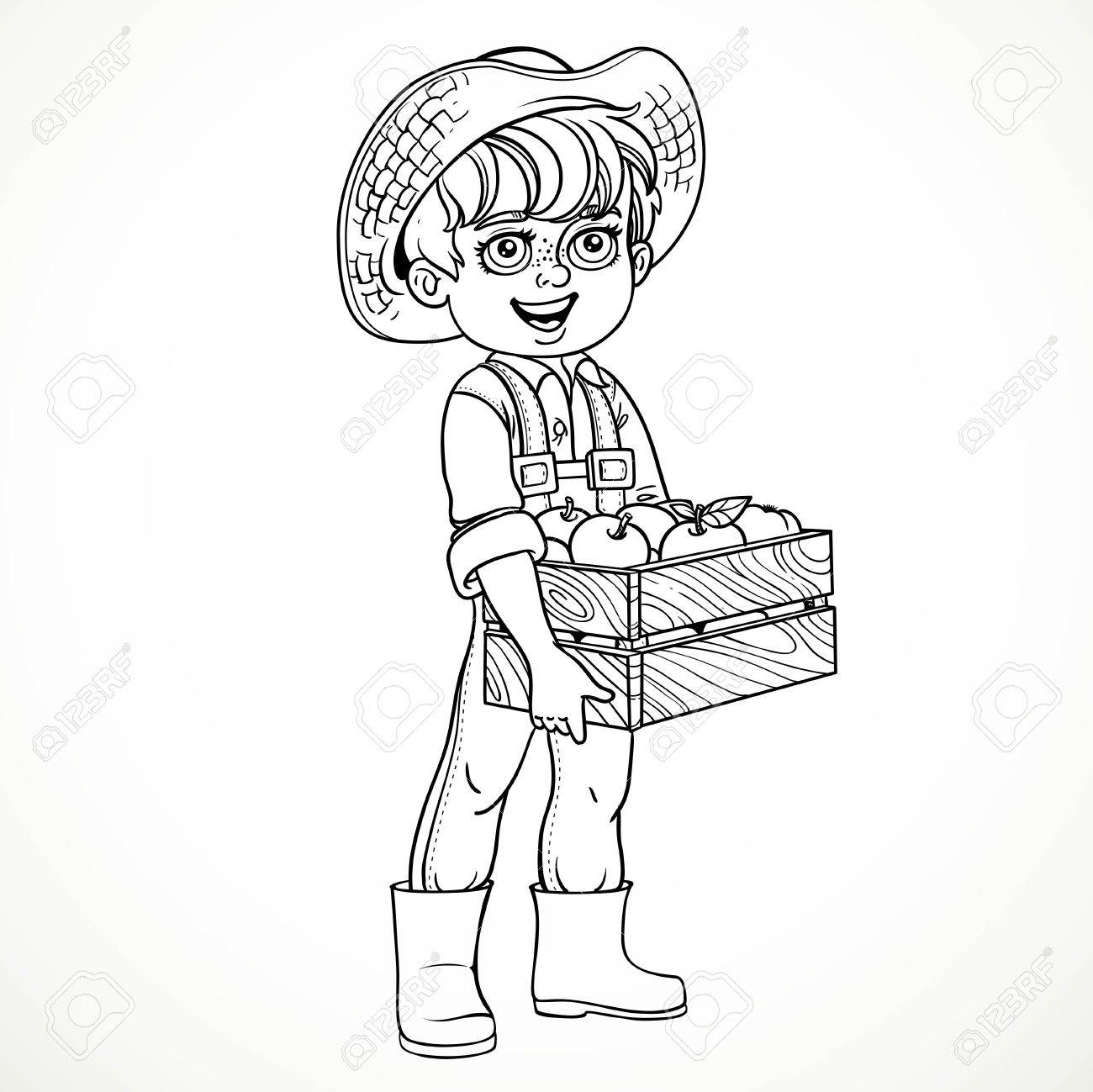 1300x1299 Cute Boy Farmer In Jeans Overallsnd Rubber Boots Holding