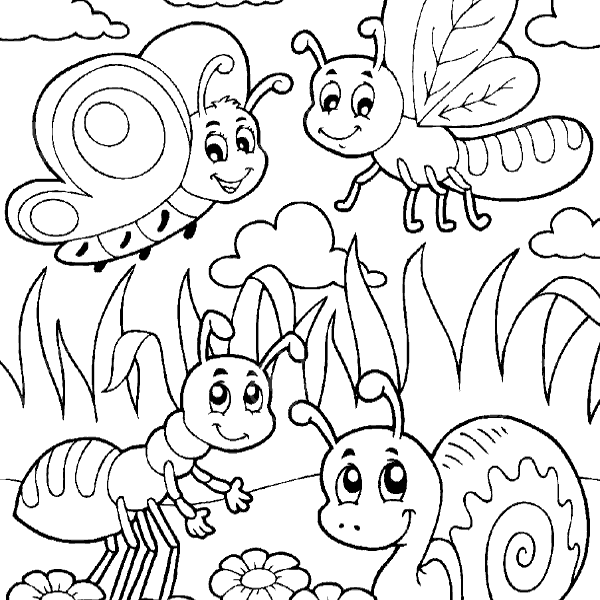600x600 Bugs Colouring Pages Coloring Page