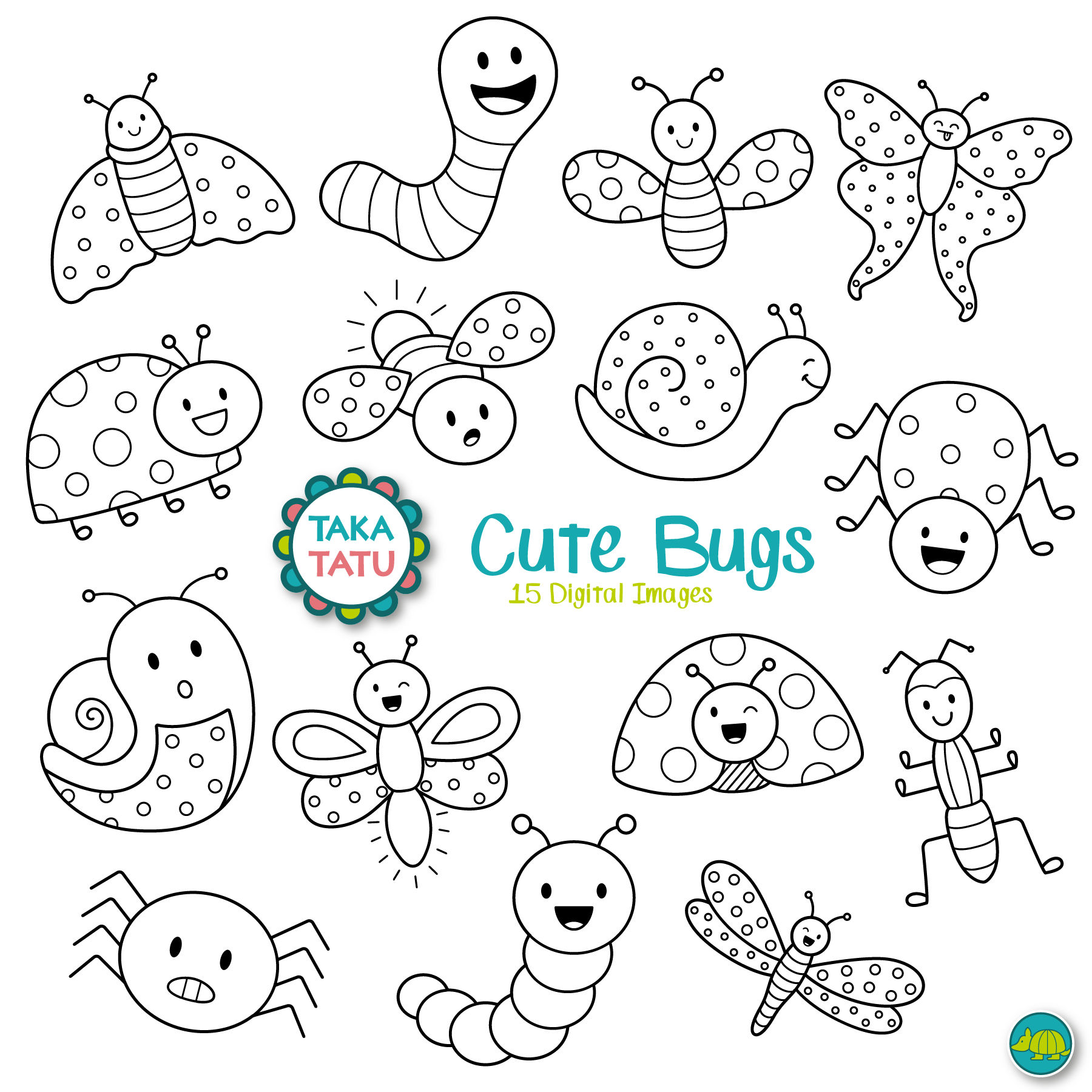 1800x1800 Cute Bugs Digital Stamp