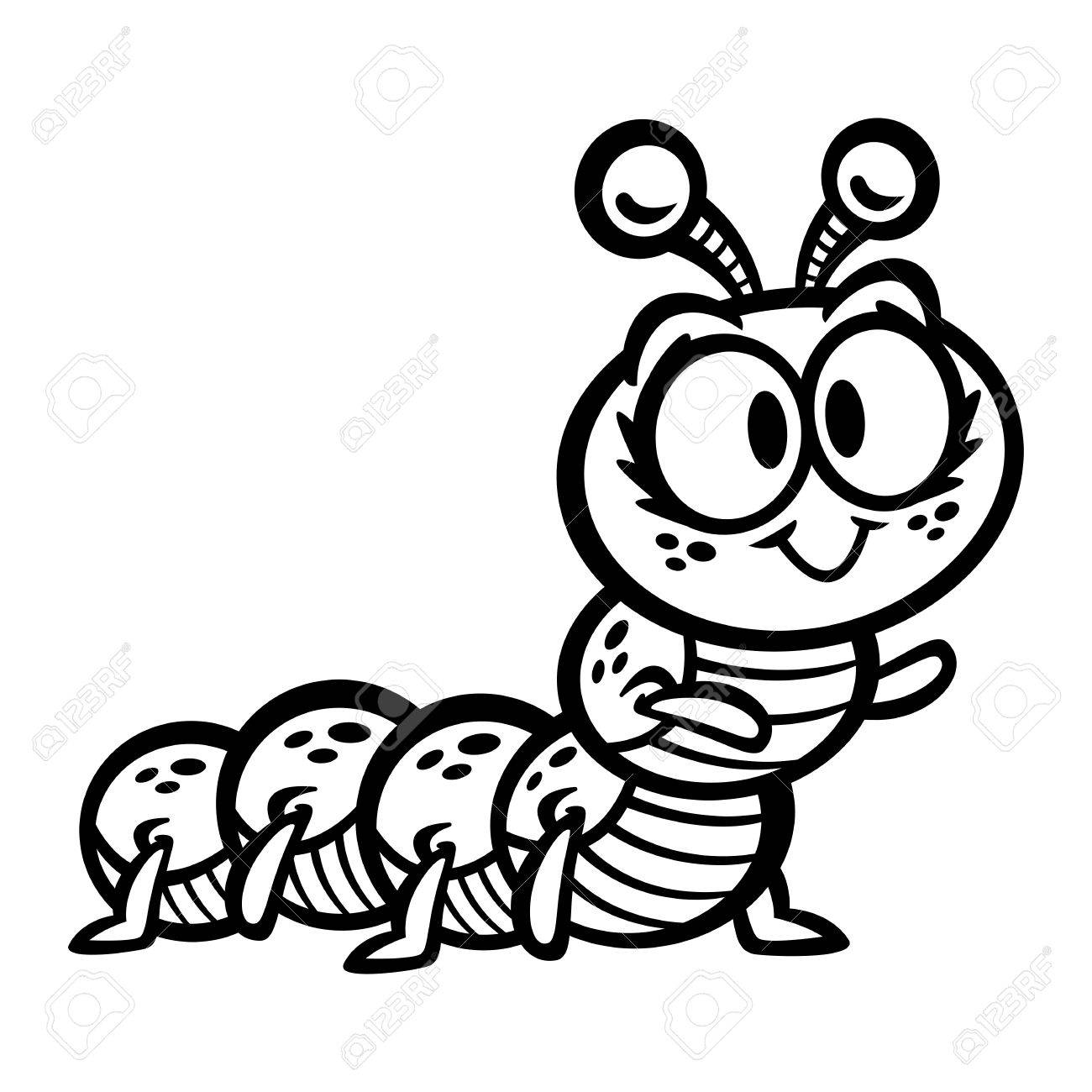 1300x1300 Cute Crawling Caterpillar Bug Cartoon Vector Royalty Free Cliparts