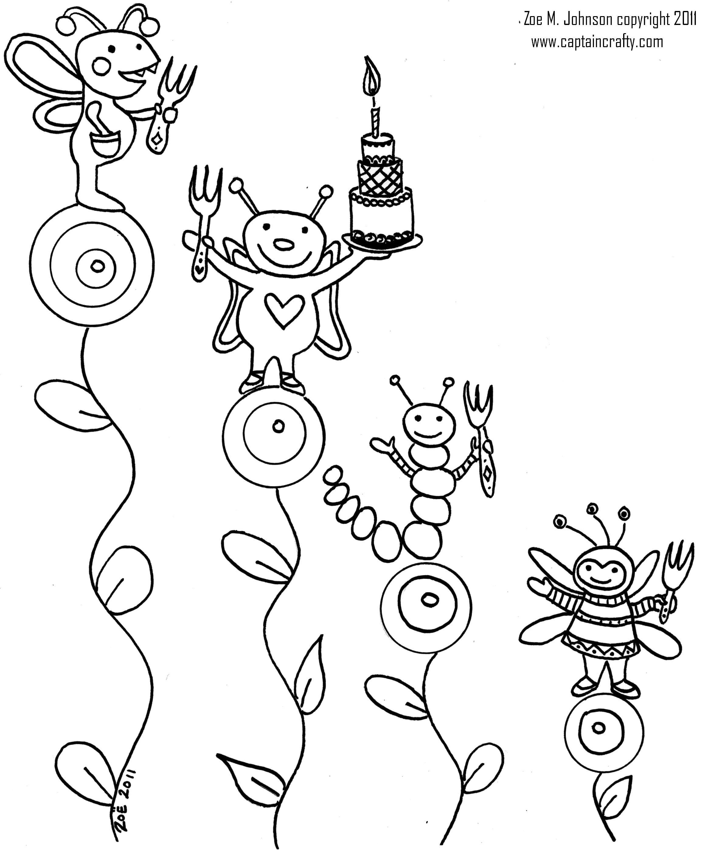 2305x2822 Bug Party Coloring Sheet