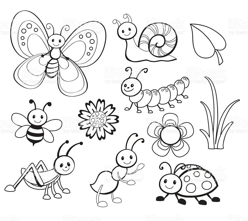 1024x911 Vector Set Of Cute Cartoon Bug Line Art, Coloring. Craft