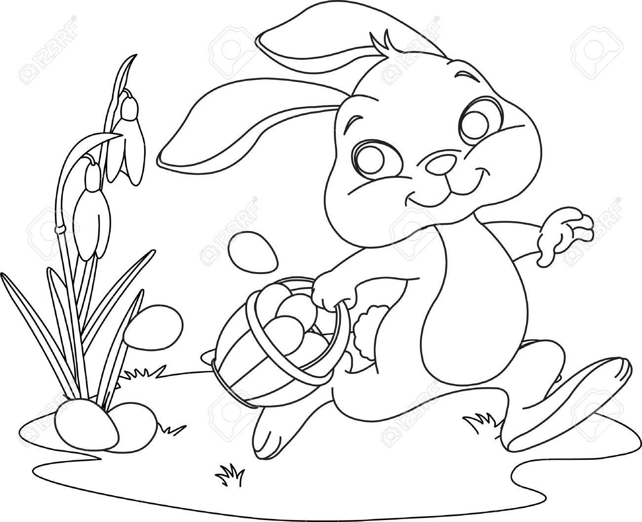 1300x1057 Cute Easter Bunny Hiding Eggs Coloring Page Royalty Free Cliparts