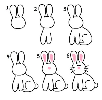 400x393 bunny crafts bunny drawing drawing step and bunny crafts