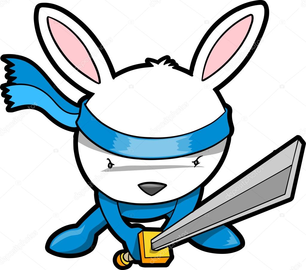 1023x903 Cute Bunny Rabbit Ninja Vector Stock Vector Misterelements