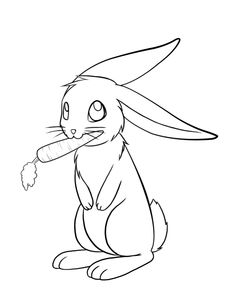 236x305 Cute Easter Bunny Eat Carrot Coloring Page Kid's Coloring Pages