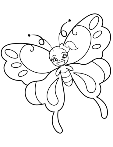 371x480 Cute Butterfly Girl With Ponytail Coloring Page Free Printable