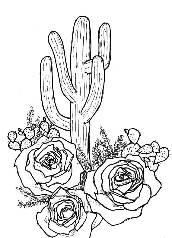 Cute Cactus Drawing at GetDrawings   Free download  Cactus Flower Outline