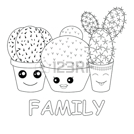 450x450 Coloring With Cacti.coloring Page.hilarious Family Of Cacti