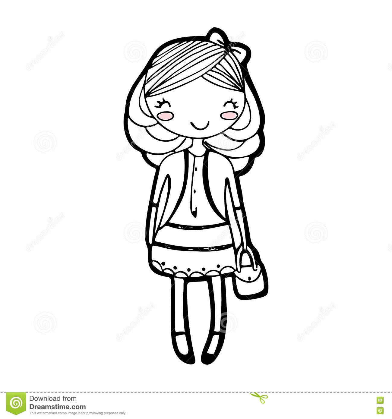1300x1390 Girl Cartoon Drawing Cute Girl Cartoon Drawing Sketch Vector Stock