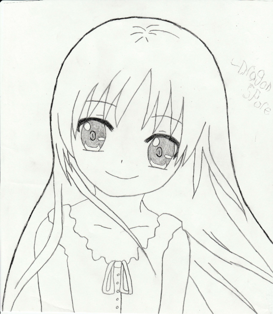 889x1024 Simple Anime Girl Drawing Anime Girl Cute Drawing