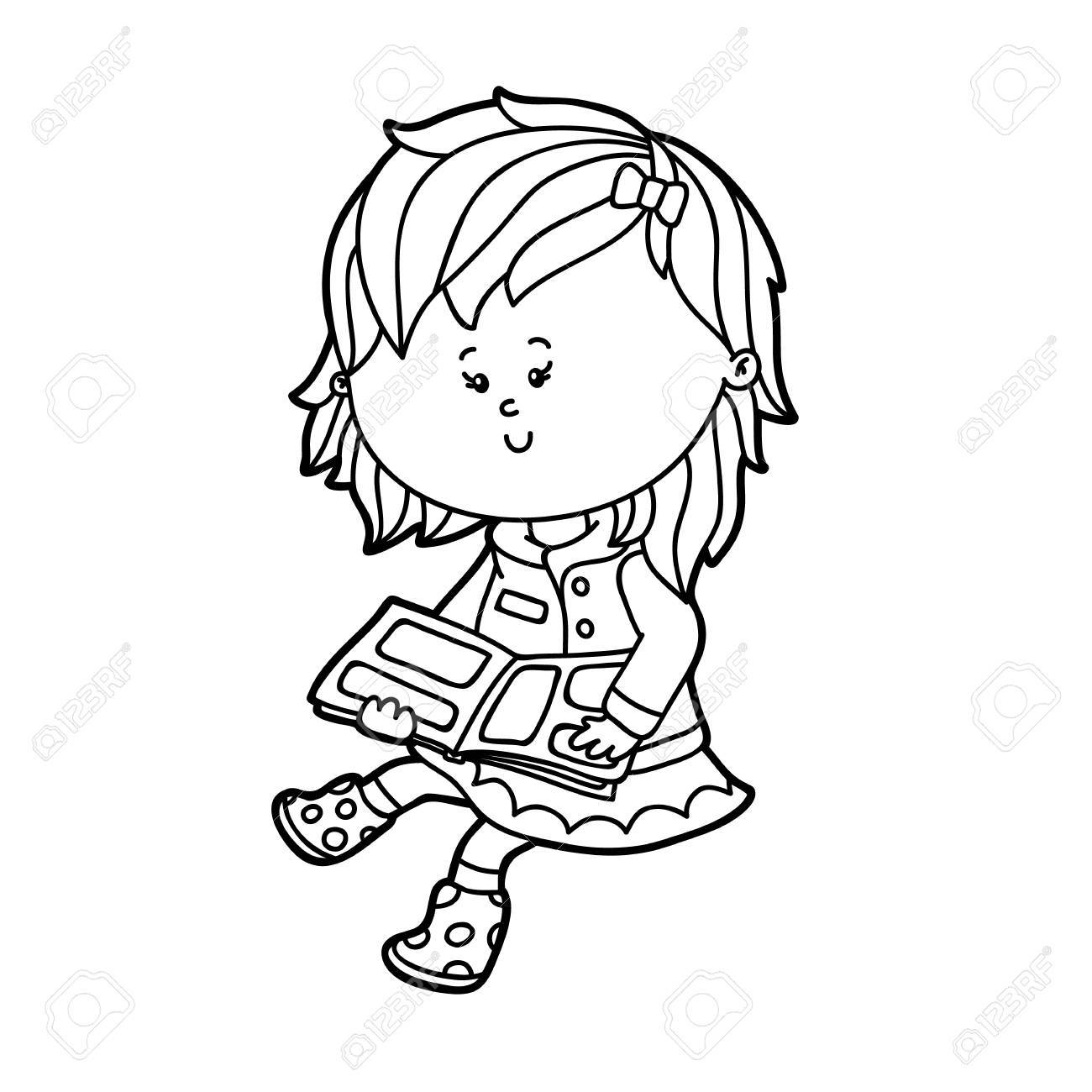 1300x1300 Vector Illustration Of Cute Cartoon Girl Character For Children