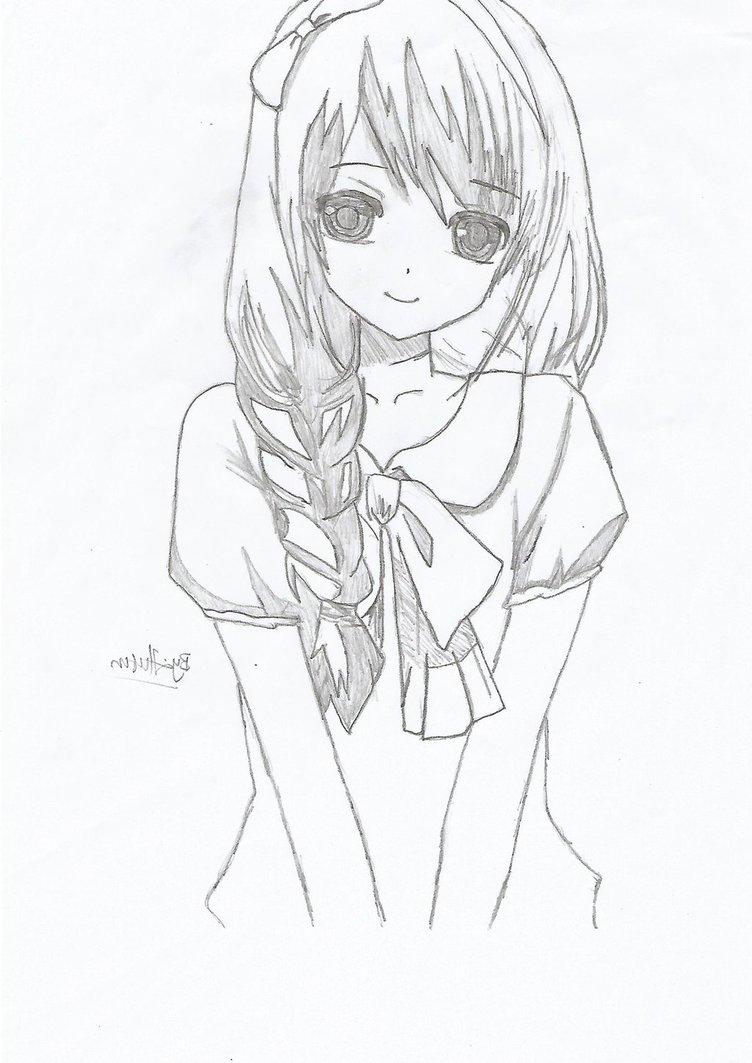 752x1063 Cute Animated Girl Sketch In Hd Cute Anime Sketches In Pencil Cute