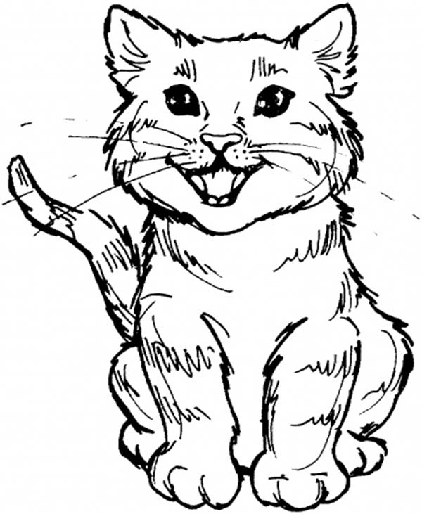 600x731 Cute Kitty Cat Roaring For Meal Coloring Page On Sleeping Cat