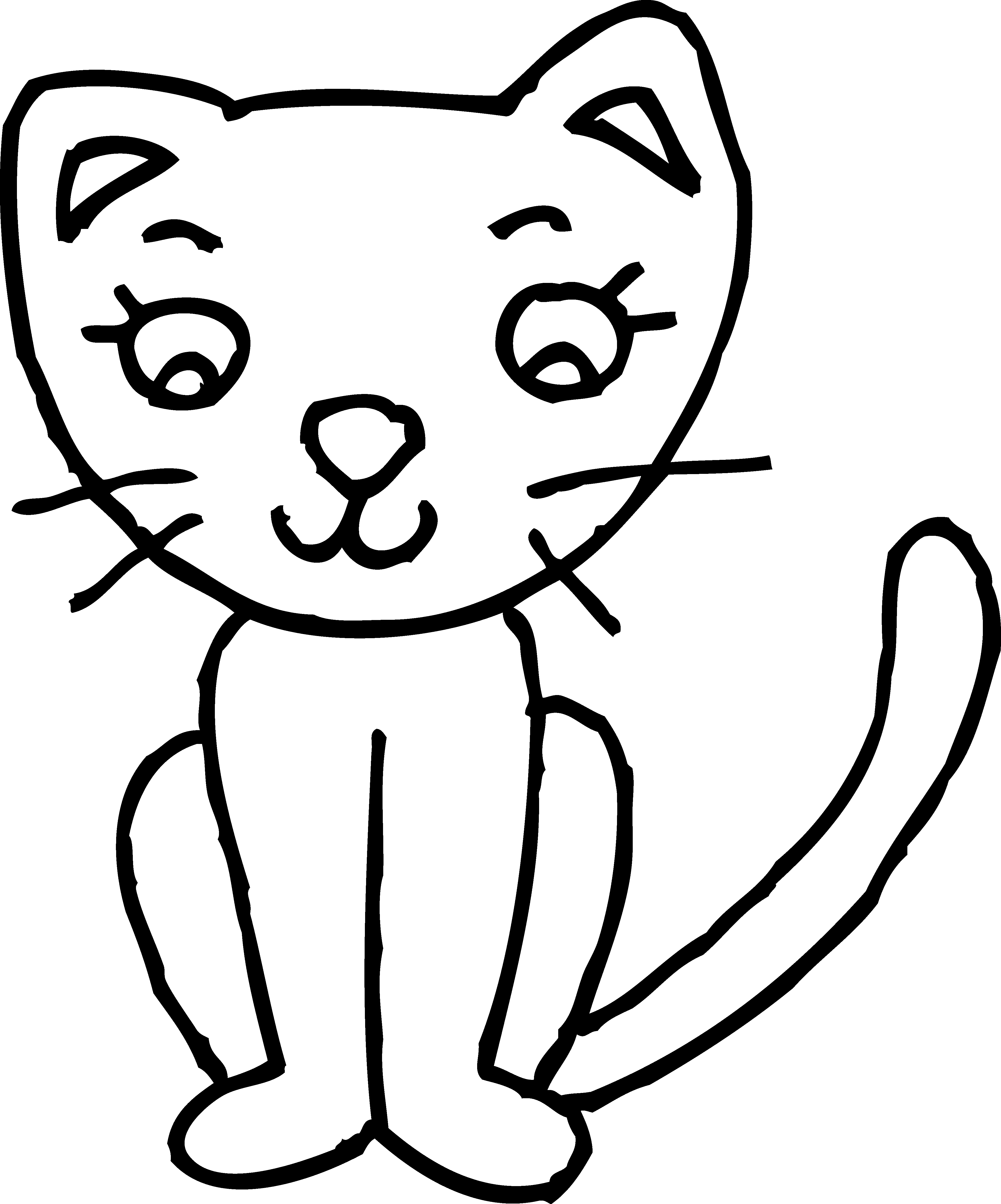 4137x4975 Cute Kitty Colorable Line Art