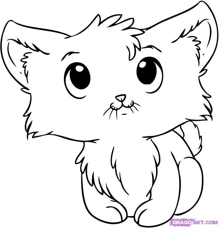 866x902 Drawn Kitten Line Drawing