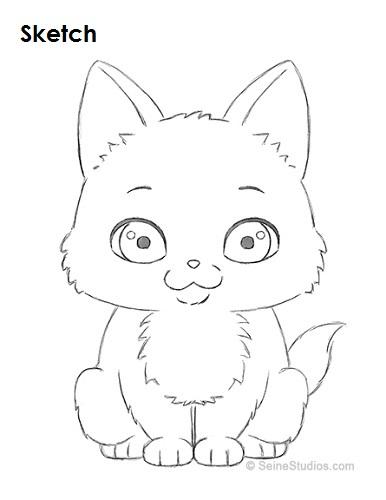 386x500 How To Draw A Cartoon Kitten