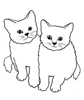 Cute Cat Dog Cartoon Line Art 354x423 Coloring Pages