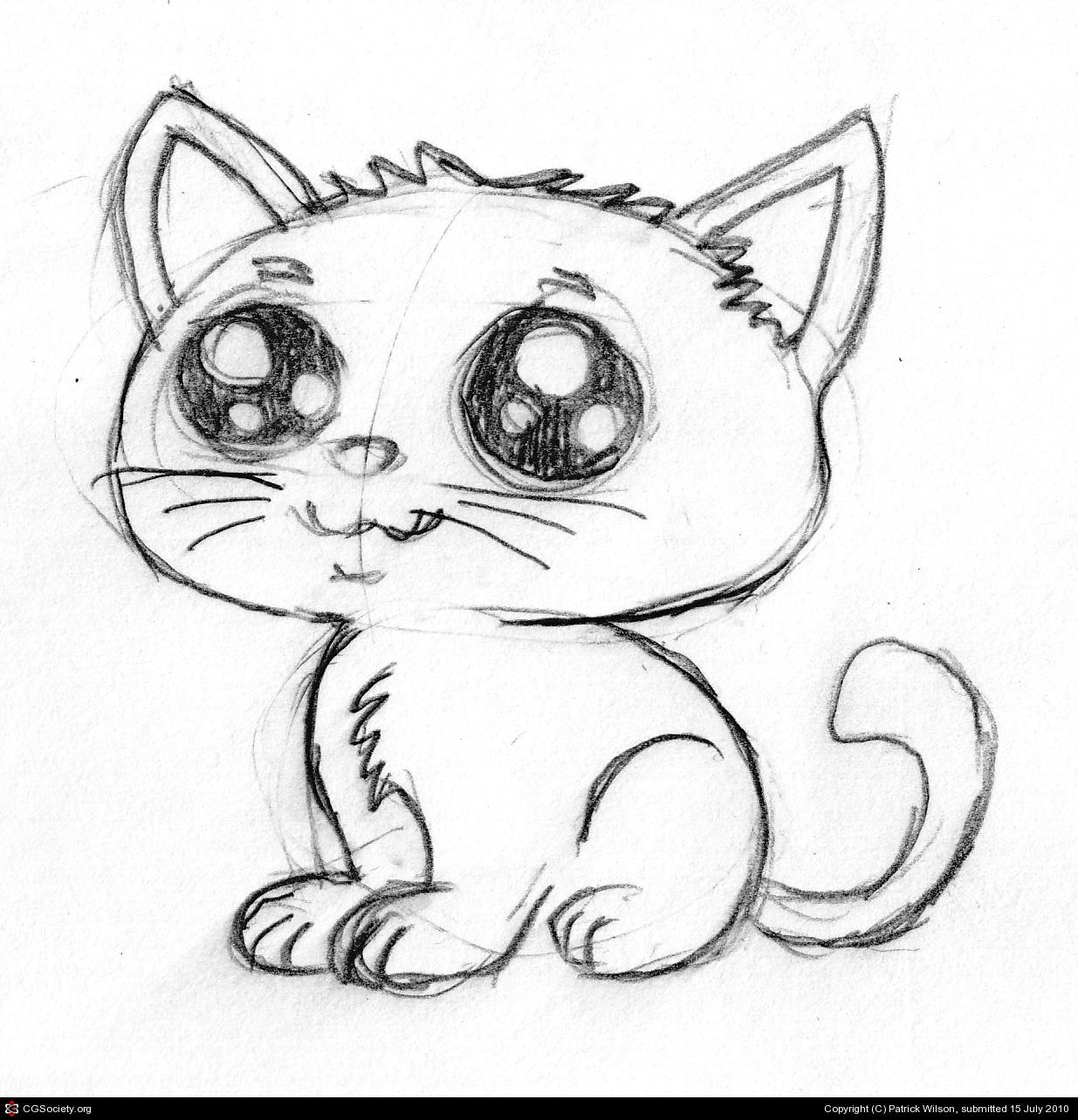 Cute Cat Drawing Easy at GetDrawings | Free download