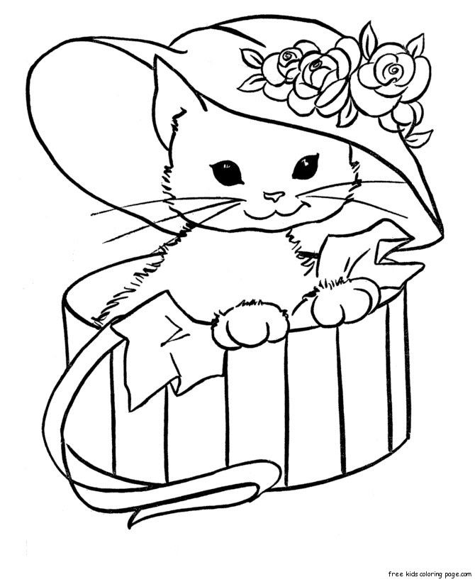 670x820 Kawaii Cat Coloring Sheets Cute Kitten Pages