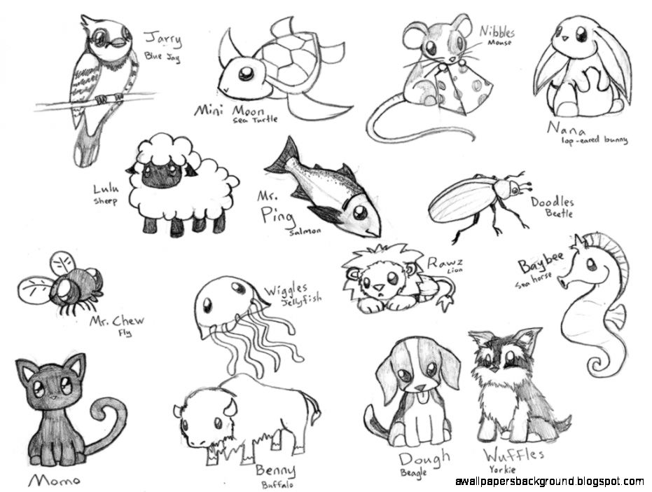 931x702 Cute Chibi Animal Drawings Wallpapers Background