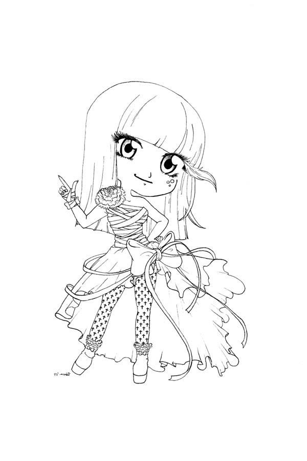 600x899 Cute Lady Gaga Chibi Drawing Coloring Page