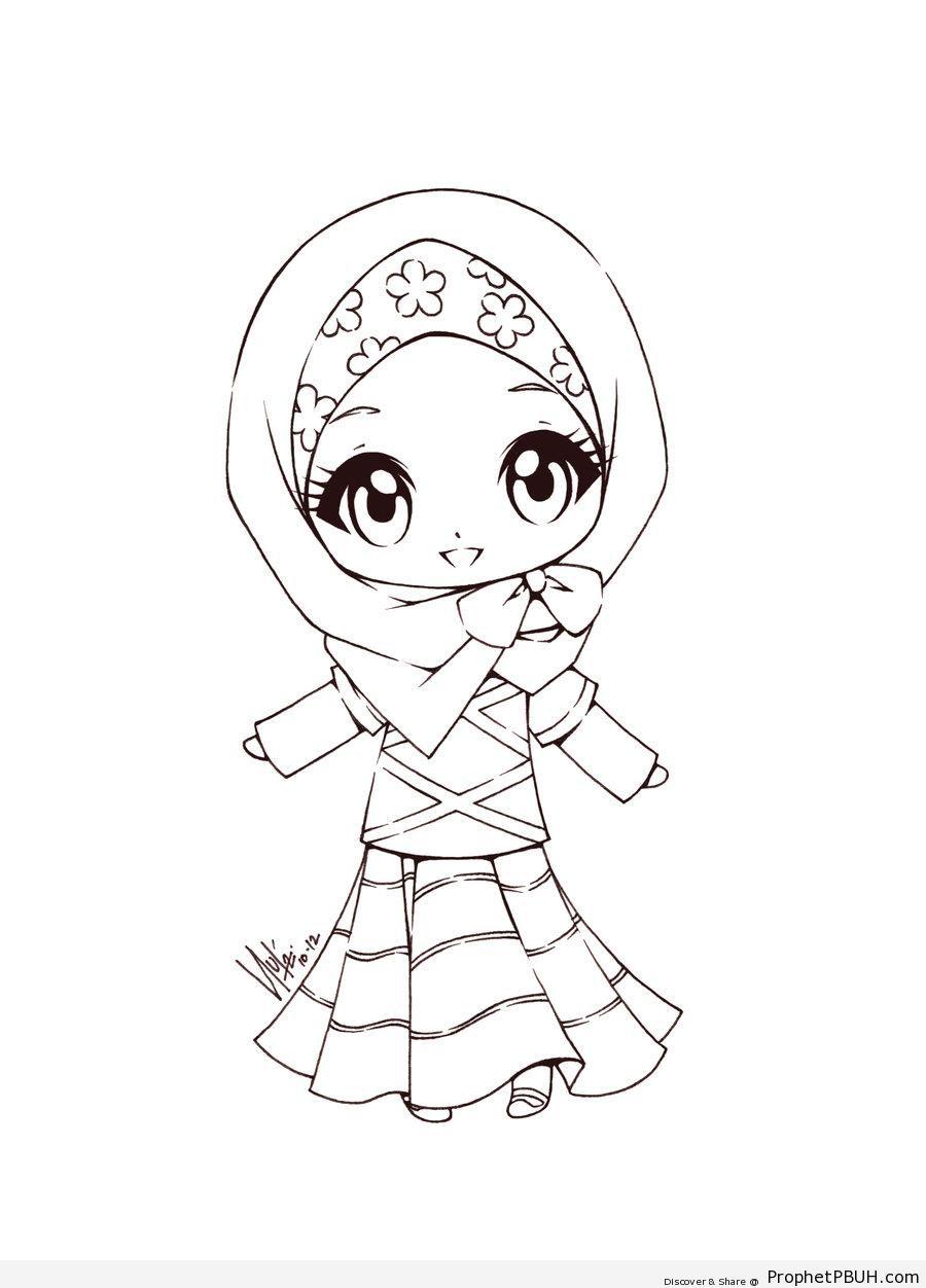 900x1252 Cute Little Muslimah Chibi Drawings (Cute Muslim Characters