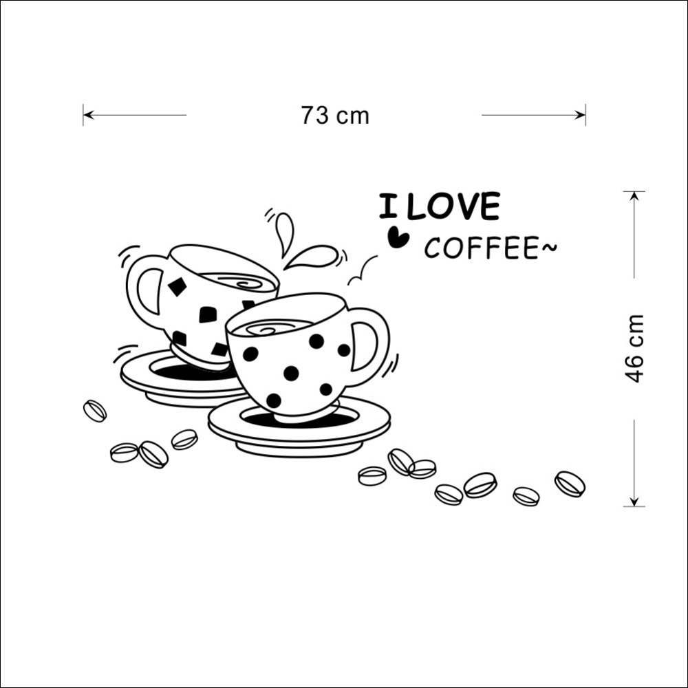 1000x1000 I Love Coffee Wall Decal Removable Cute Coffee Cup Wall Sticker