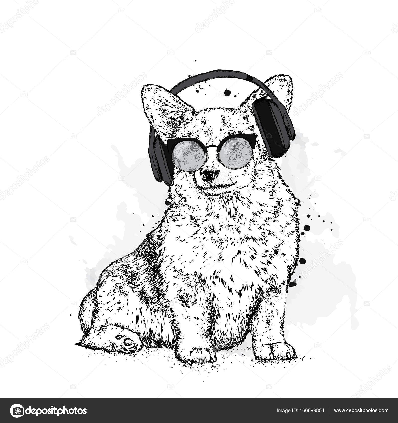 1600x1700 Cute Puppy With Glassesnd Headphones. Vector Illustration
