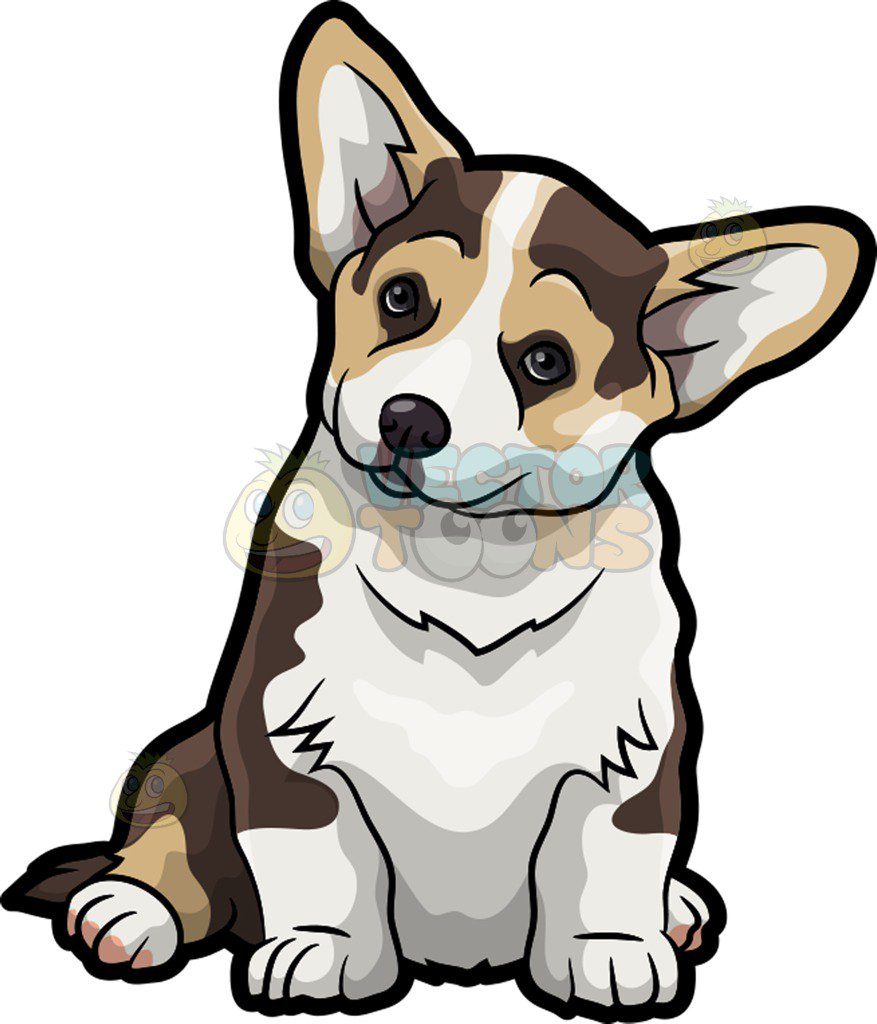 877x1024 A Cute Corgi Pet Dog Cartoon Clipart