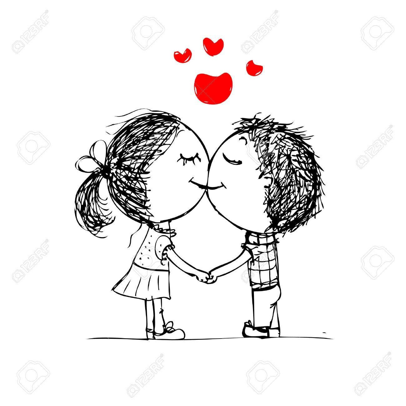 1300x1300 Cute Couple Kissing Cartoon Drawings Cartoon Kissing Couple Free