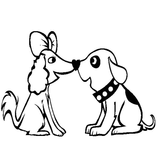 600x612 A Very Cute Dog Couple Coloring Page A Very Cute Dog Couple