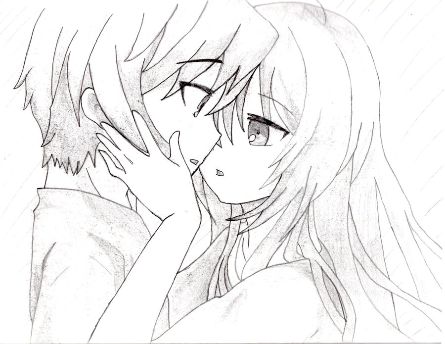 900x695 Drawn Kissing Cute Anime
