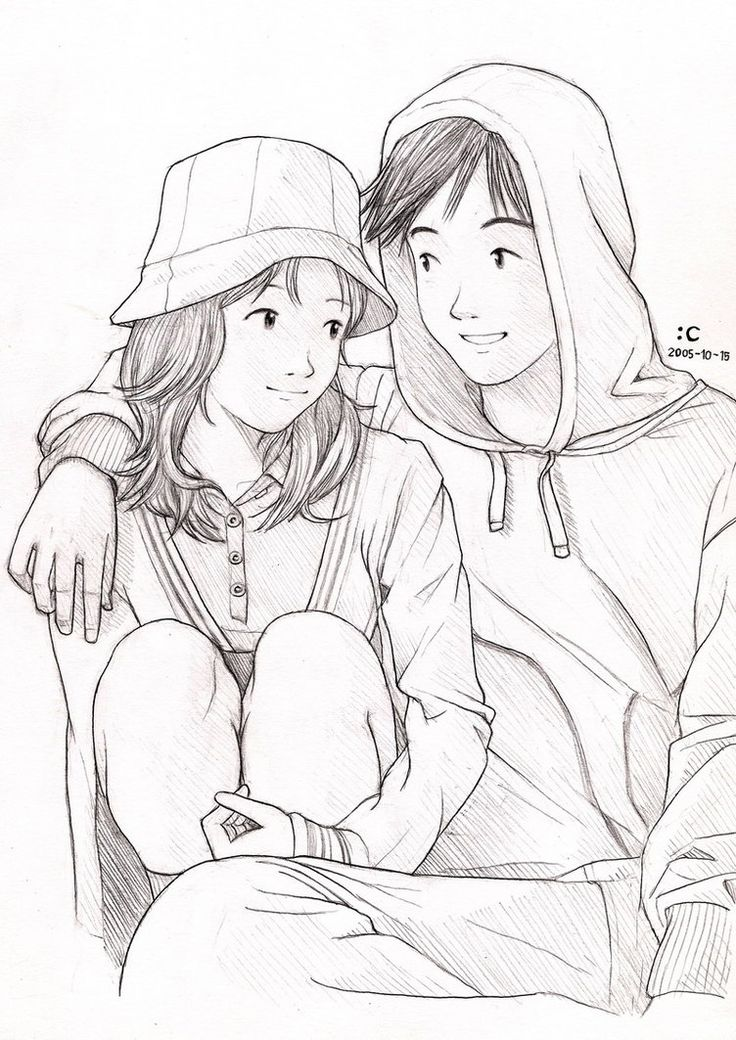 736x1040 Pictures Cute Drawing Couple Wallpaper,