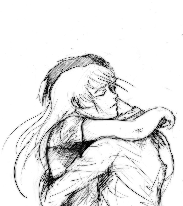Cute Couple Hugging Drawing