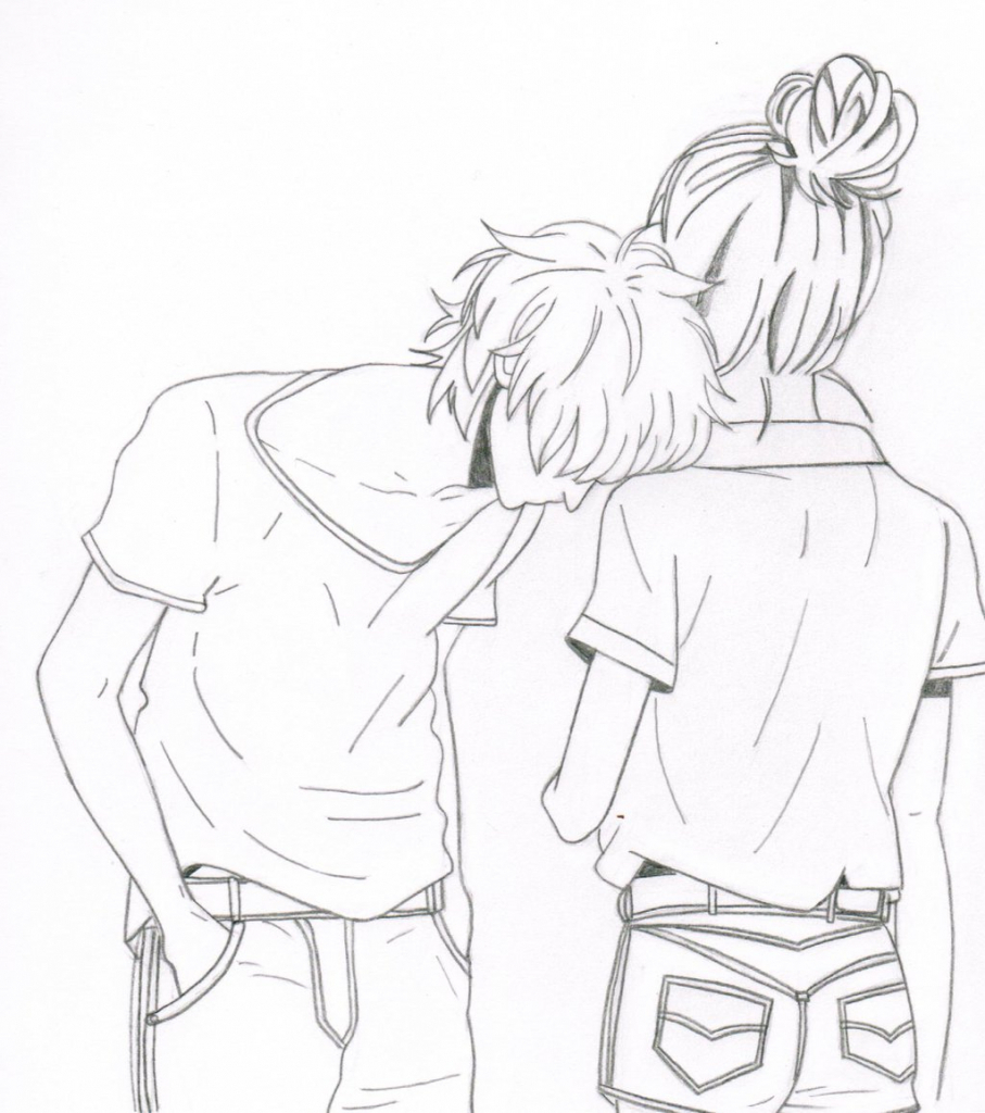907x1024 Drawing Cartoon Sketch With Hug Cute Couple Cute Couple Hugging