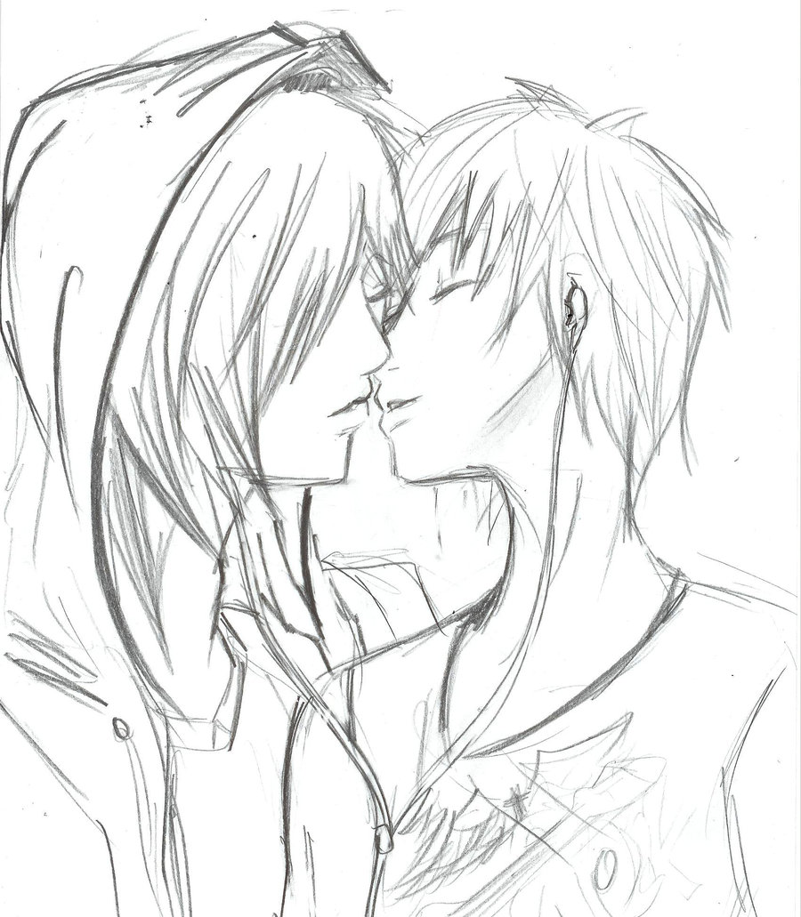 900x1031 Drawn Kiss Sweet Couple