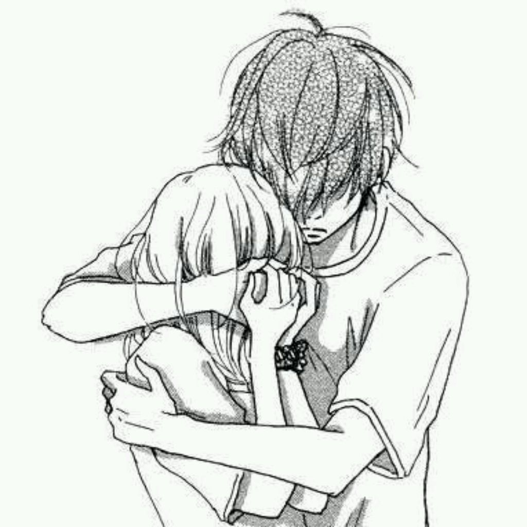 1024x1024 Sad Anime Love Hug Drawings