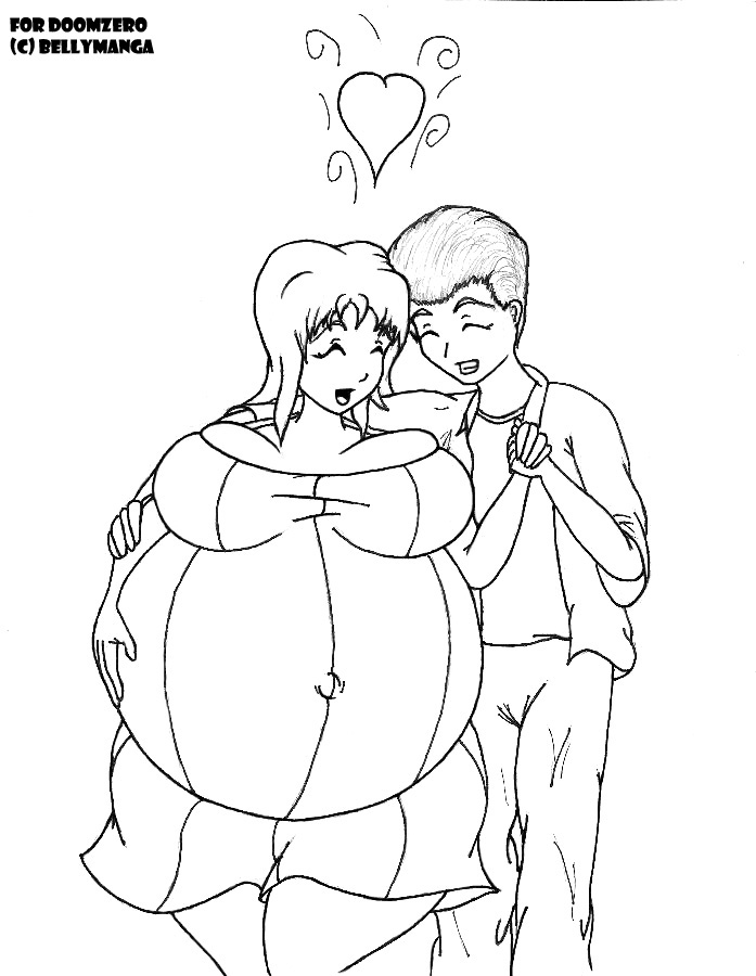 697x900 Hugging Couple By Bellymanga