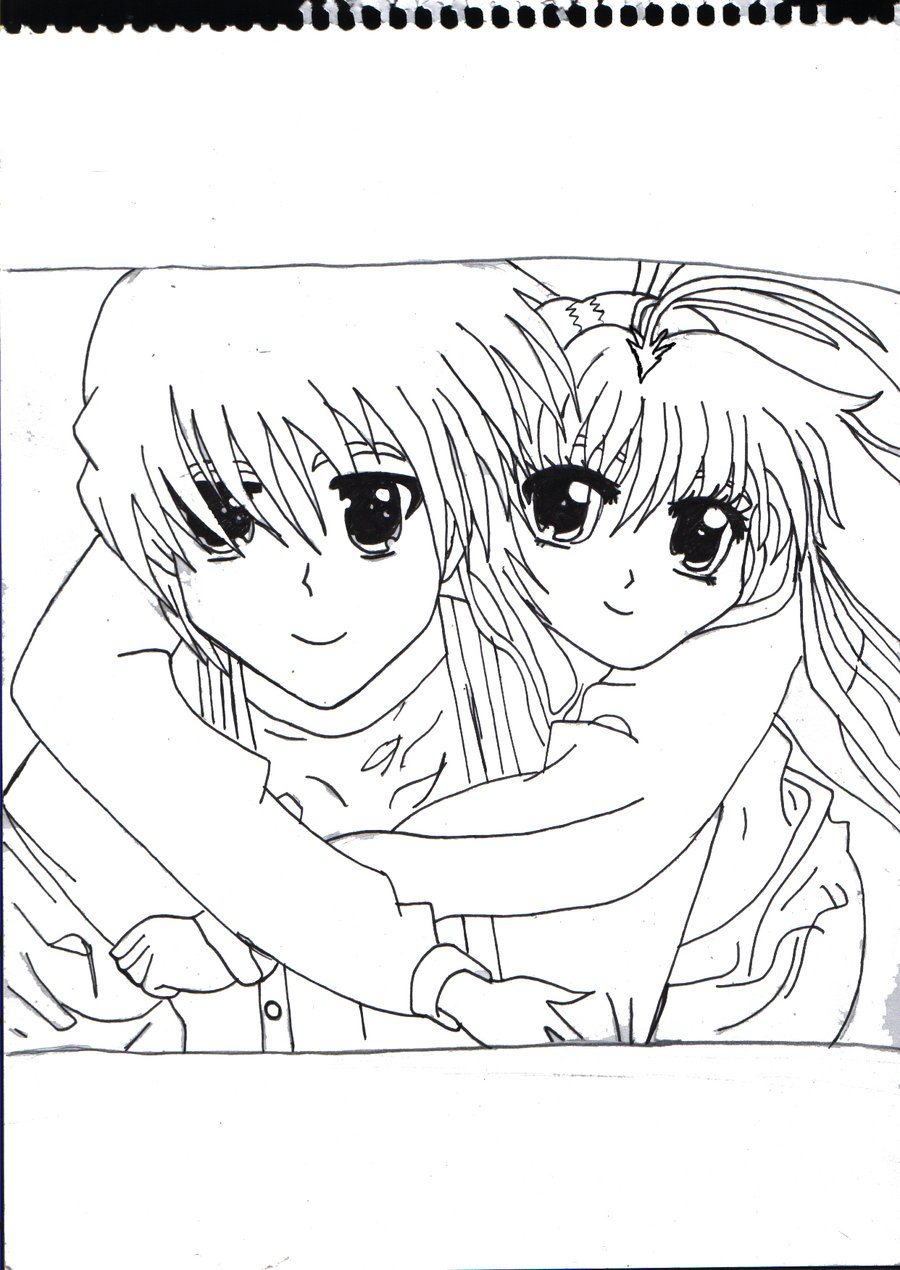 900x1270 Anime Couple Hug Outlined By X Xanimenerdx X