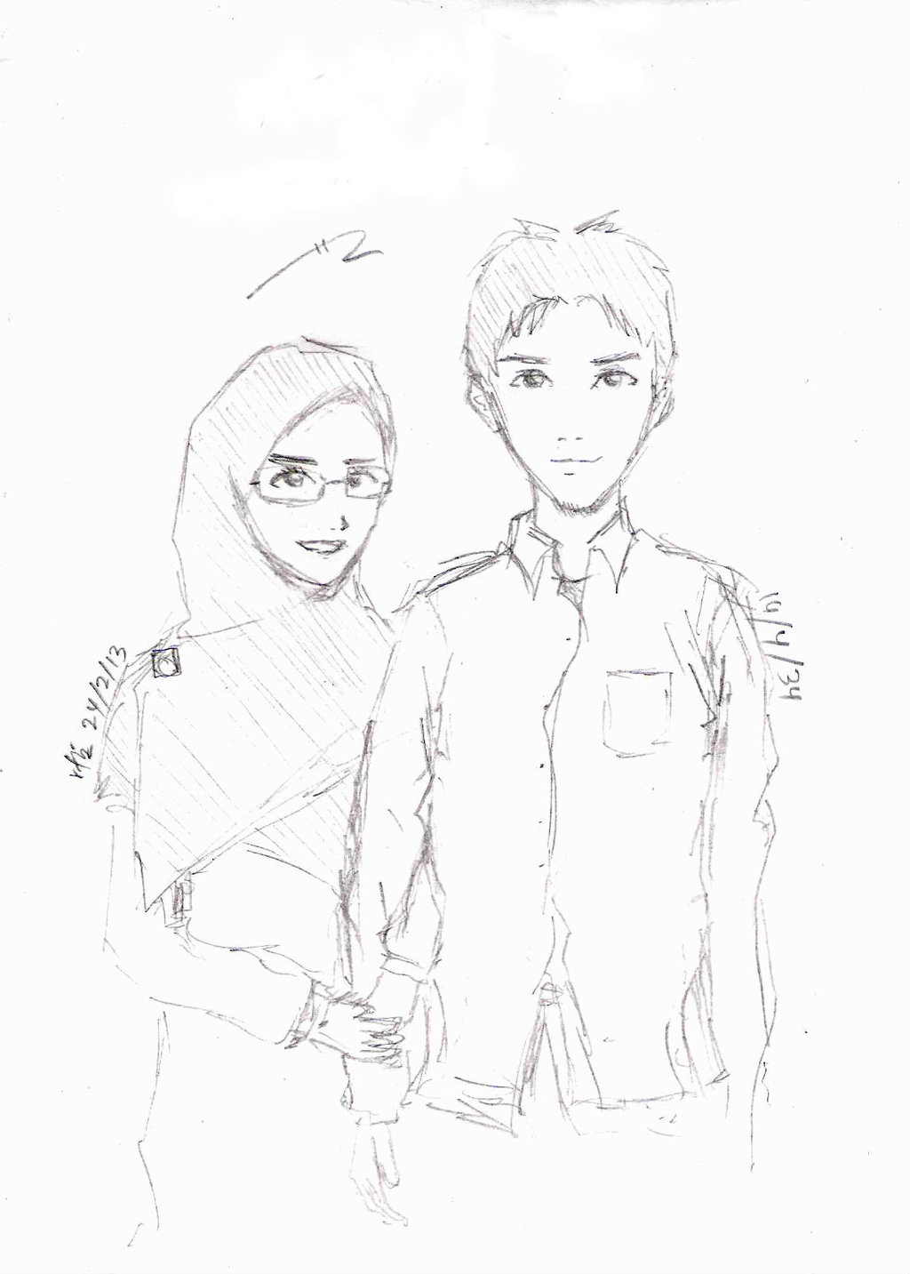 1024x1433 Pencil Sketches Of Muslim Couple New Pencil Drawings With Cute