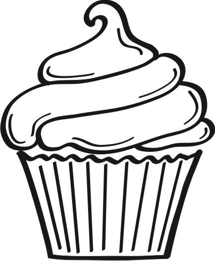 432x526 Cupcake Outline Clip Art You are here Home Graphics Food