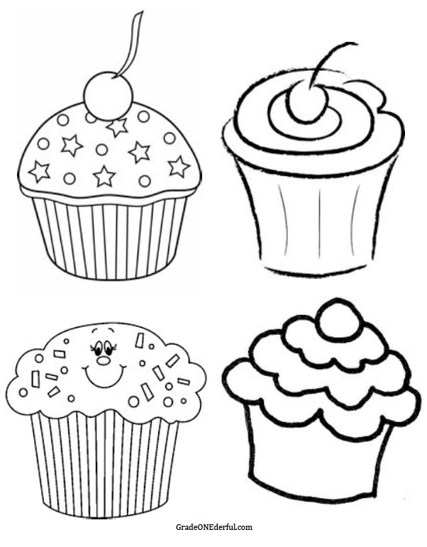 602x771 Cute Cupcake Clipart Black And White