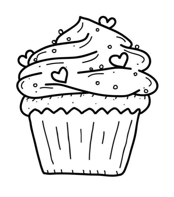 564x639 Cute Cupcake Printable Coloring Pages