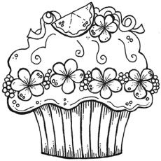 230x230 Cute Cupcake Printable Coloring Pages