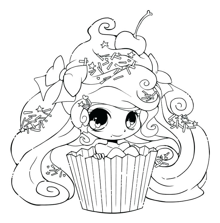 736x747 Best Anime Girl Coloring Pages New Cute Cupcake By On Super