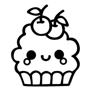 300x300 Kawaii Cupcake (Smile)