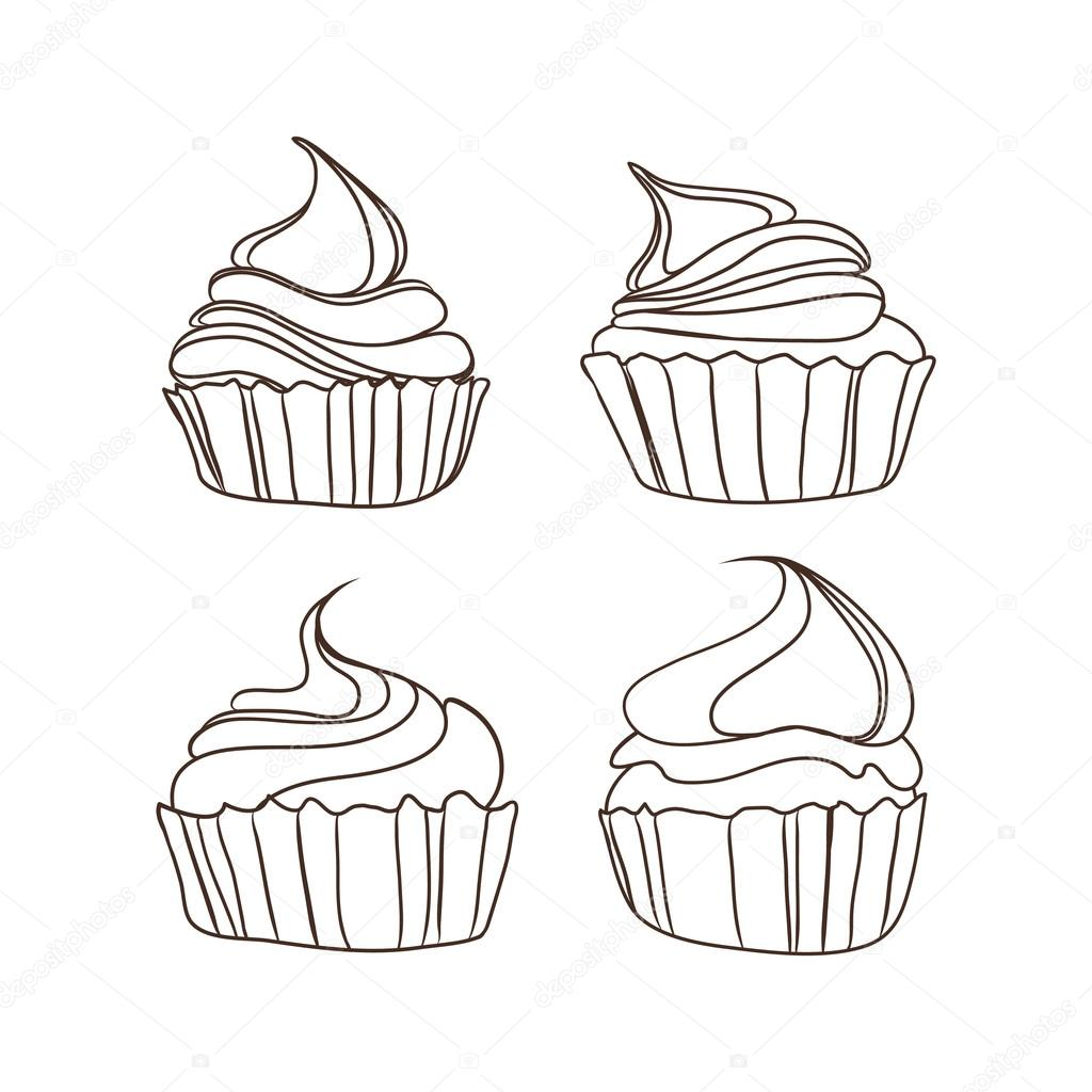 1024x1024 Cute cupcakes set — Stock Vector © O.ta