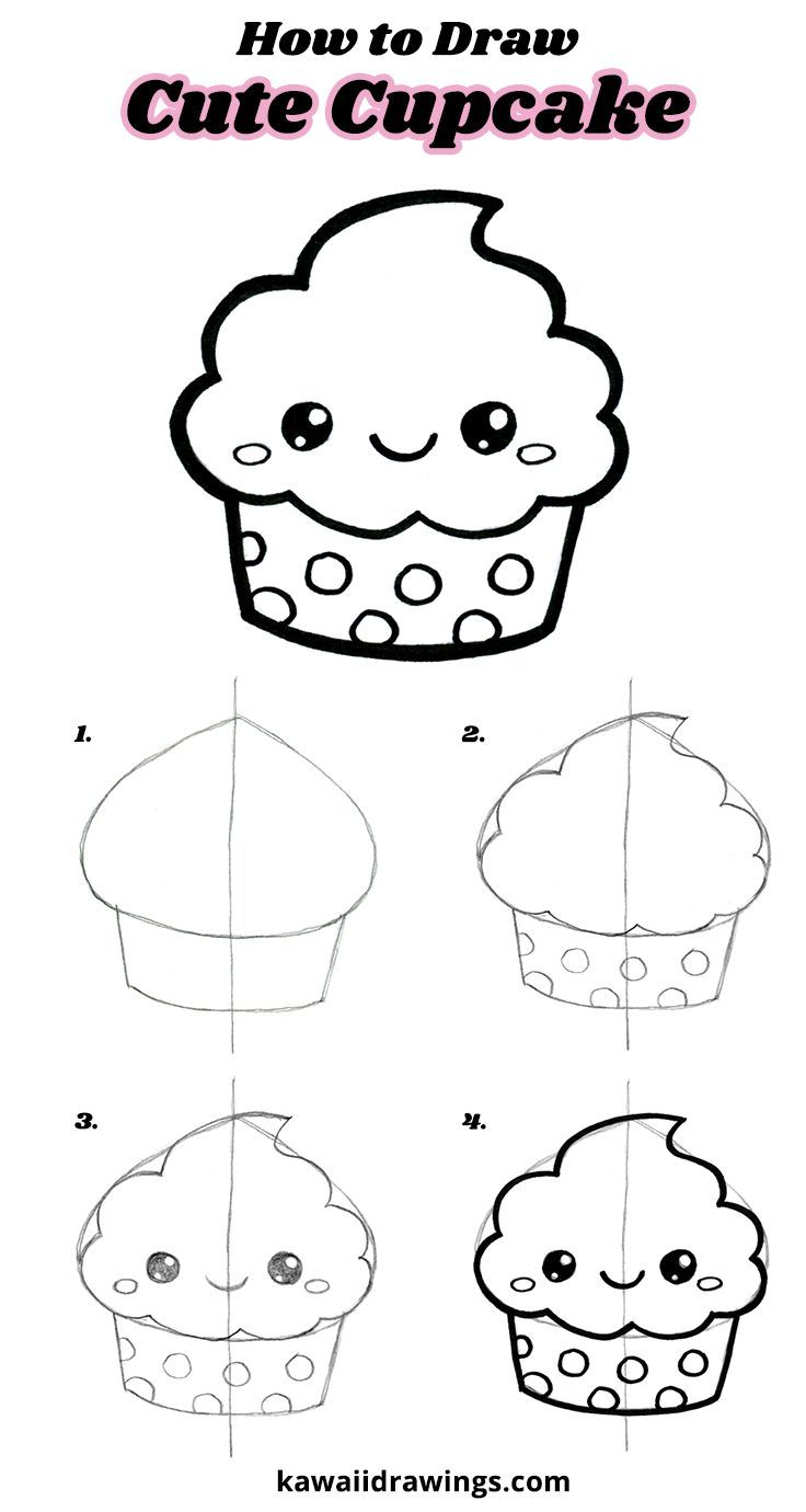 736x1380 How to draw a cute cupcake, easy drawing tutorial, step by step